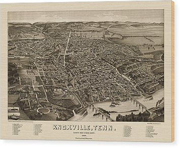 Antique Map Of Knoxville Tennessee By H. Wellge - 1886 Wood Print by Blue Monocle