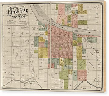 Antique Map Of Little Rock Arkansas By Gibb And Duff Rickon - 1888 Wood Print by Blue Monocle
