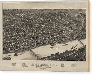 Antique Map Of Little Rock Arkansas By H. Wellge - 1887 Wood Print by Blue Monocle