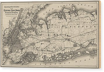 Wood Print featuring the drawing Antique Map Of Long Island And New York City - 1873 by Blue Monocle