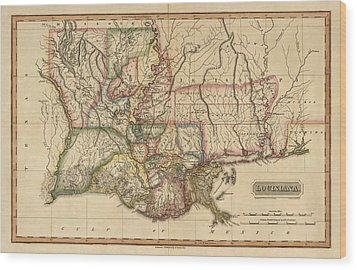 Antique Map Of Louisiana By Fielding Lucas - Circa 1817 Wood Print