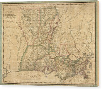 Wood Print featuring the drawing Antique Map Of Louisiana By John Melish - 1820 by Blue Monocle