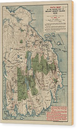 Antique Map Of Mount Desert Island - Acadia National Park - By Waldron Bates - 1911 Wood Print by Blue Monocle