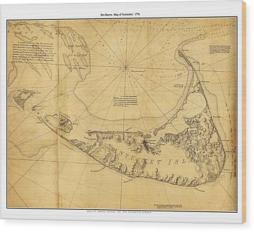 Antique Map Of Nantucket Wood Print