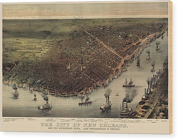 Antique Map Of New Orleans By Currier And Ives - Circa 1885 Wood Print