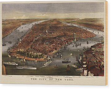 Antique Map Of New York City By Currier And Ives - 1870 Wood Print