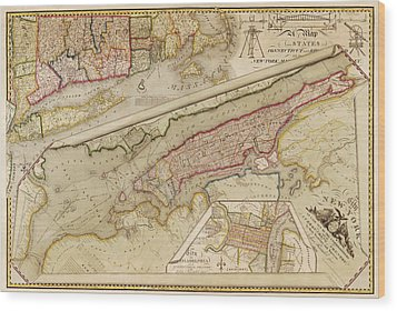 Antique Map Of New York City By John Randel - 1821 Wood Print by Blue Monocle