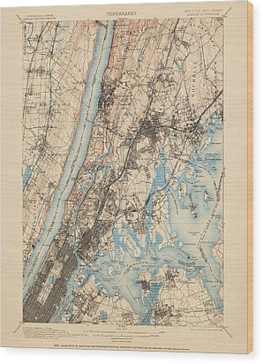 Antique Map Of New York City - Usgs Topographic Map - 1900 Wood Print by Blue Monocle