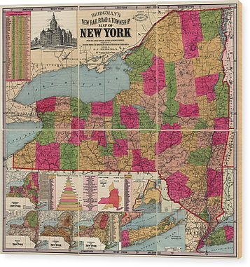 Wood Print featuring the drawing Antique Map Of New York State By E. C. Bridgman - 1896 by Blue Monocle
