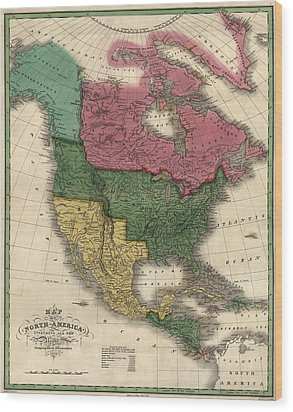 Antique Map Of North America By D. H. Vance - 1826 Wood Print by Blue Monocle
