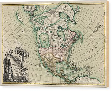 Antique Map Of North America By Jean Janvier - 1762 Wood Print by Blue Monocle