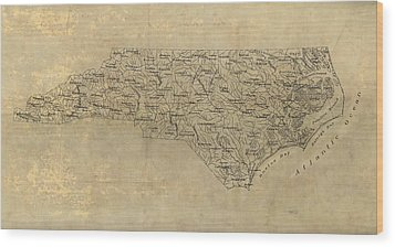 Wood Print featuring the drawing Antique Map Of North Carolina - 1893 by Blue Monocle