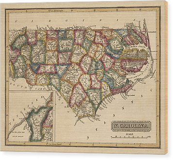 Antique Map Of North Carolina By Fielding Lucas - Circa 1817 Wood Print by Blue Monocle