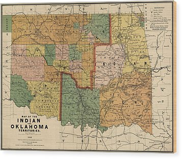 Antique Map Of Oklahoma By Rand Mcnally And Company - 1892 Wood Print by Blue Monocle