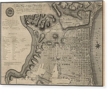 Antique Map Of Philadelphia By John Hills - 1797 Wood Print by Blue Monocle