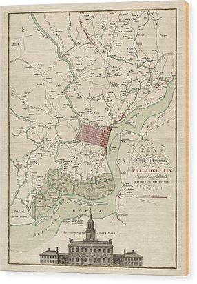 Antique Map Of Philadelphia By Matthaus Albrecht Lotter - 1777 Wood Print by Blue Monocle