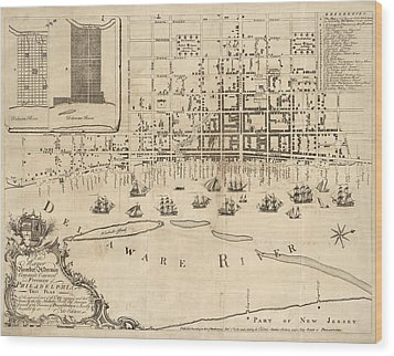 Antique Map Of Philadelphia By Nicholas Scull - 1762 Wood Print by Blue Monocle