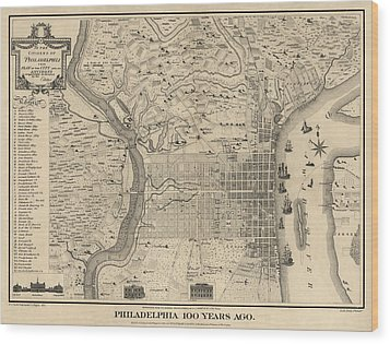 Antique Map Of Philadelphia By P. C. Varte - 1875 Wood Print