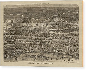 Antique Map Of Philadelphia By Theodore R. Davis - 1872 Wood Print by Blue Monocle