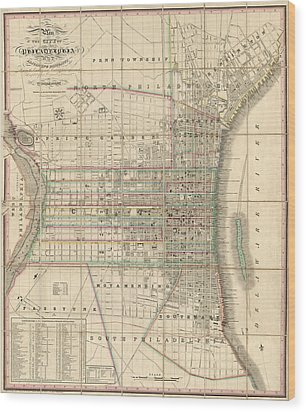 Wood Print featuring the drawing Antique Map Of Philadelphia By William Allen - 1830 by Blue Monocle