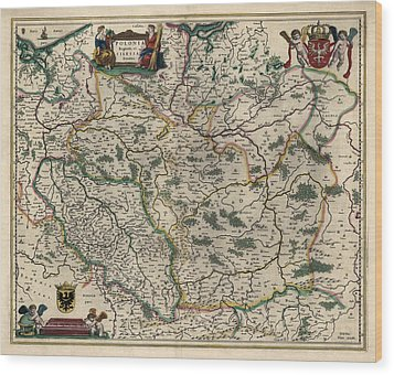 Wood Print featuring the drawing Antique Map Of Poland By Willem Janszoon Blaeu - 1647 by Blue Monocle