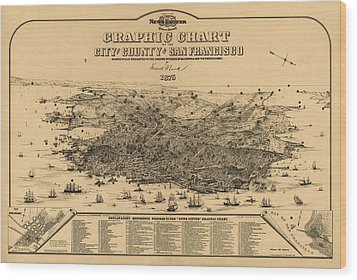 Wood Print featuring the drawing Antique Map Of San Francisco By Frederick Marriott - 1875 by Blue Monocle