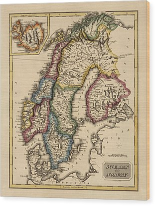 Antique Map Of Scandinavia By Fielding Lucas - Circa 1817 Wood Print by Blue Monocle
