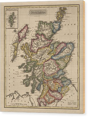 Antique Map Of Scotland By Fielding Lucas - Circa 1817 Wood Print