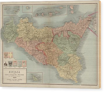 Antique Map Of Sicily Italy By Antonio Vallardi - 1900 Wood Print