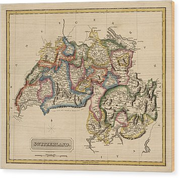 Antique Map Of Switzerland By Fielding Lucas - Circa 1817 Wood Print by Blue Monocle