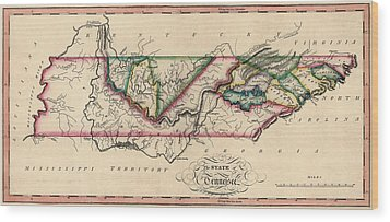 Antique Map Of Tennessee By Samuel Lewis - Circa 1810 Wood Print by Blue Monocle