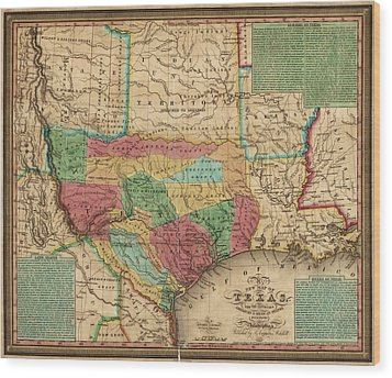 Antique Map Of Texas By James Hamilton Young - 1835 Wood Print