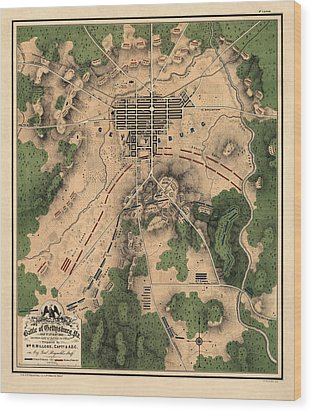 Antique Map Of The Battle Of Gettysburg By William H. Willcox - 1863 Wood Print
