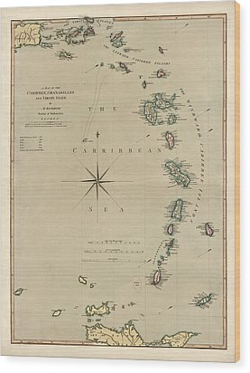 Antique Map Of The Caribbean - Lesser Antilles - By Mathew Richmond - 1789 Wood Print