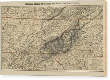 Antique Map Of The Great Smoky Mountains - North Carolina And Tennessee - By W. L. Nickolson - 1864 Wood Print by Blue Monocle