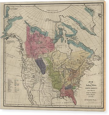 Antique Map Of The Indian Tribes Of North America By Albert Gallatin - 1836 Wood Print by Blue Monocle