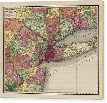 Wood Print featuring the drawing Antique Map Of The New York City Region By Rand Mcnally And Company - 1908 by Blue Monocle