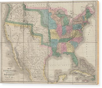 Antique Map Of The United States By David Burr - 1839 Wood Print by Blue Monocle