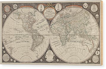 Antique Map Of The World By Thomas Kitchen - 1799 Wood Print