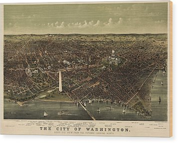 Antique Map Of Washington Dc By Currier And Ives - Circa 1892 Wood Print