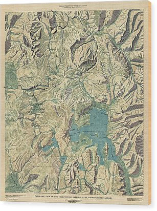 Wood Print featuring the drawing Antique Map Of Yellowstone National Park By The Usgs - 1915 by Blue Monocle