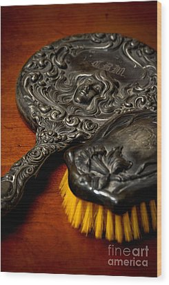 Antique Mirror And Brush Wood Print by Amy Cicconi