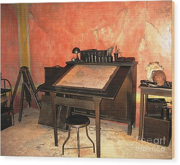 Antique Nautical Desk Wood Print by Judy Palkimas