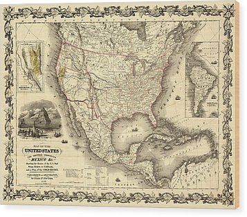 Antique North America Map Wood Print by Gary Grayson