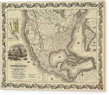 Antique North America Map Wood Print