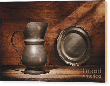 Antique Pewter Pitcher And Plate Wood Print by Olivier Le Queinec