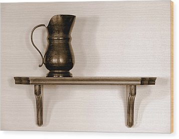 Antique Pewter Pitcher On Old Wood Shelf Wood Print by Olivier Le Queinec