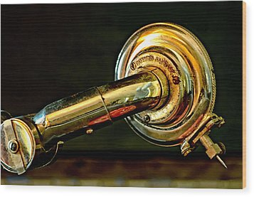 Antique Phonograph Tonearm Wood Print by Stephen Anderson