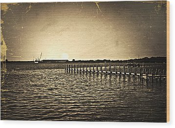Wood Print featuring the photograph Antique Photo Of Pier  by Susan Leggett