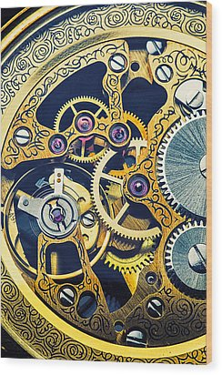 Antique Pocket Watch Gears Wood Print by Garry Gay